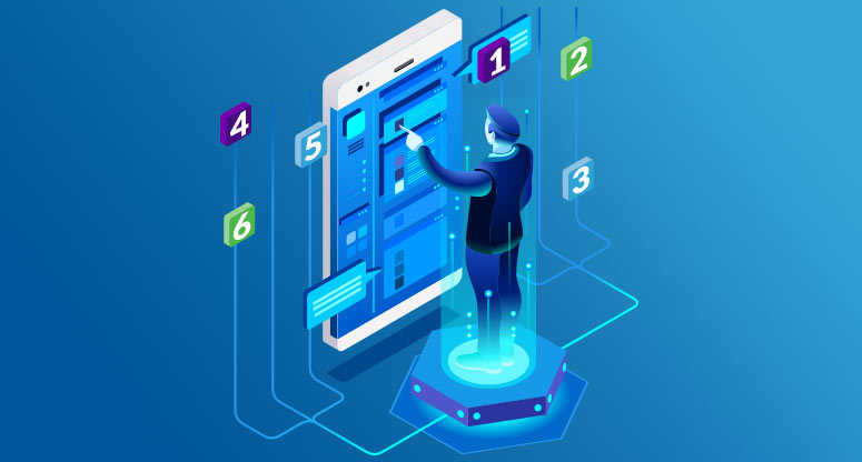 illustration of business person touching mobile screen with the number one through six