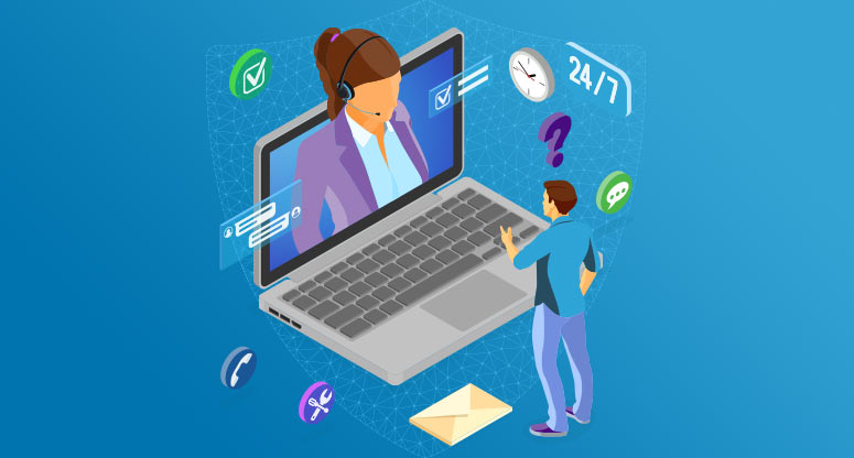 illustration of a female customer service agent helping a male customer in a secured on demand virtual structure